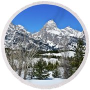 Teton Winter Landscape Round Beach Towel