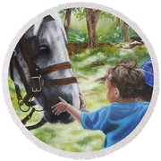 Round Beach Towel featuring the painting Thank You's by Lori Brackett