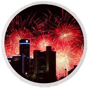 Round Beach Towel featuring the photograph The 54th Annual Target Fireworks In Detroit Michigan - Version 2 by Gordon Dean II