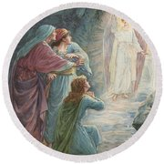 The Appearance Of The Angel Round Beach Towel