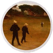 The Ball Players Round Beach Towel by William Morris Hunt