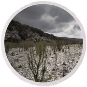 The Bank Of The Nueces River Round Beach Towel