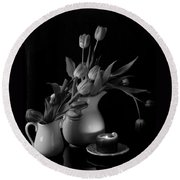 The Beauty Of Tulips In Black And White Round Beach Towel by Sherry Hallemeier