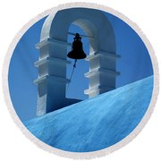 The Bell Tower In Mykonos Round Beach Towel by Vivian Christopher