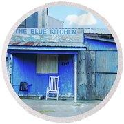 The Blue Kitchen Round Beach Towel