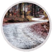 Round Beach Towel featuring the photograph The Broken Road by Lynne Jenkins