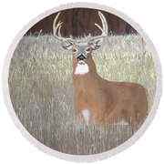Round Beach Towel featuring the painting The Buck Stops Here by Norm Starks