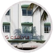 The Carlyle Hotel 2. Miami. Fl. Usa Round Beach Towel