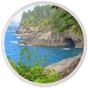 Round Beach Towel featuring the photograph The Caves Of Cape Flattery  by Tikvah's Hope