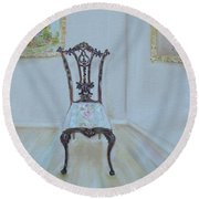 Round Beach Towel featuring the painting The Chair by Judith Rhue