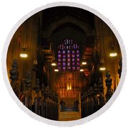 The Chapel At Valley Forge Park Round Beach Towel by Cindy Manero