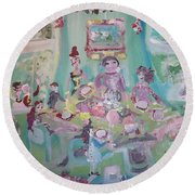 Round Beach Towel featuring the painting The Christmas Dinner by Judith Desrosiers