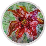 Round Beach Towel featuring the painting The Christmas Poinsettia by Dragica  Micki Fortuna