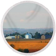 Round Beach Towel featuring the photograph The Countryside by Davandra Cribbie