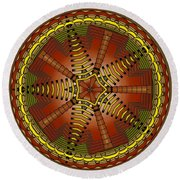 Round Beach Towel featuring the digital art The Crescents And Wiry Star by Mario Carini
