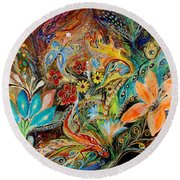 The Dance Of Lizards Round Beach Towel