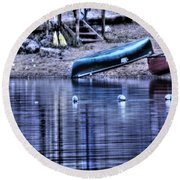 Round Beach Towel featuring the photograph The Dramatic Canoe Scene by Janie Johnson