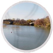 Round Beach Towel featuring the photograph The Erie Canal Crossing The Genesee River by William Norton