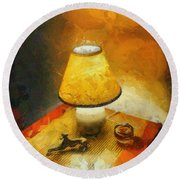 The Evening Lamp Round Beach Towel