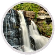 Round Beach Towel featuring the photograph The Face Of The Falls by Mark Dodd