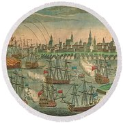 The Fall Of Louisbourg 1758 Round Beach Towel