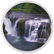 Round Beach Towel featuring the photograph The Falls by David Gleeson