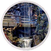 Round Beach Towel featuring the photograph The Falls by Deena Stoddard