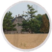 Round Beach Towel featuring the photograph The Farm by Bonfire Photography
