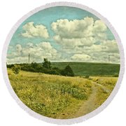 The Farm Road Round Beach Towel