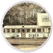 Round Beach Towel featuring the photograph The Farmers Diner In Sepia by Sherman Perry