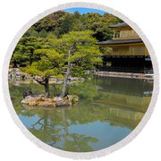 The Golden Pavilion Round Beach Towel