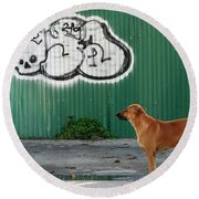 Round Beach Towel featuring the photograph The Graffiti Artist by Nola Lee Kelsey