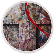 Round Beach Towel featuring the painting The Greatest Love by Kume Bryant