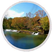 Round Beach Towel featuring the photograph The Grist Big River by Peggy Franz