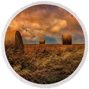 The Hayfield Round Beach Towel by Chris Lord