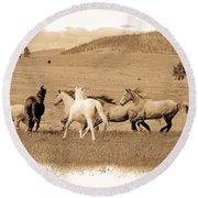The Horse Herd Round Beach Towel by Steve McKinzie