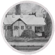 Round Beach Towel featuring the drawing The House Across by Kume Bryant