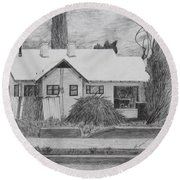 The House Across Round Beach Towel by Kume Bryant