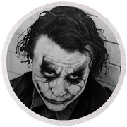 The Joker Round Beach Towel by Carlos Velasquez Art