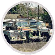 The Land Rover Graveyard Round Beach Towel