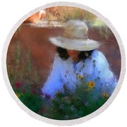 The Light Of The Garden Round Beach Towel by Colleen Taylor