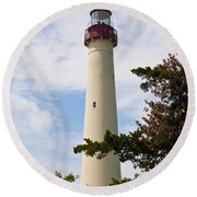 The Lighthouse At Cape May New Jersey Round Beach Towel