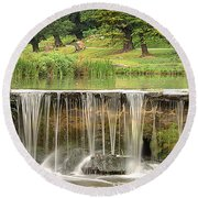 Round Beach Towel featuring the photograph The Lin by Linsey Williams