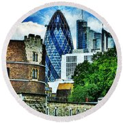 The London Gherkin  Round Beach Towel