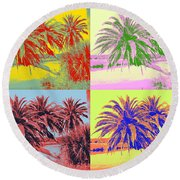 Round Beach Towel featuring the photograph The Loop In Pop Art by Alice Gipson