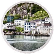 Round Beach Towel featuring the photograph The Lower Battery by Verena Matthew