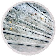 Round Beach Towel featuring the photograph The Marble Steps Of Life by Vicki Ferrari