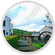 Round Beach Towel featuring the photograph The Mill by Charlie and Norma Brock