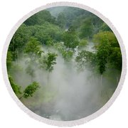 The Mist In The Valley Round Beach Towel