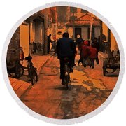 Round Beach Towel featuring the photograph The Neighborhood by Lydia Holly